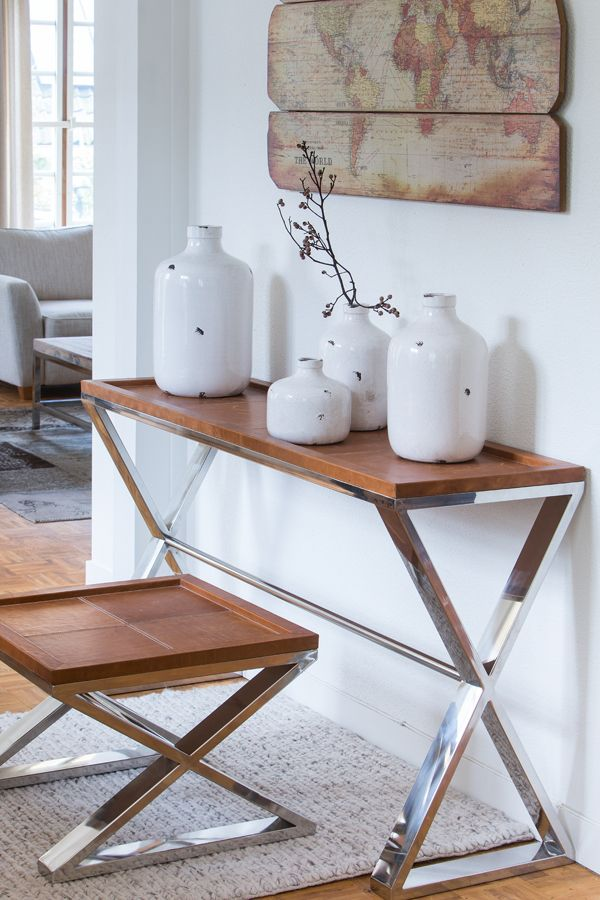 Wandtisch Leder Metall verchromt Konsole verchromt Möbel
