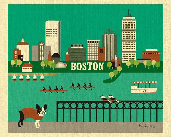 Boston Massachusetts Horizontal Boston Wall Art Boston Art