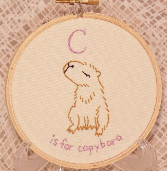 This Is A C Is For Capybara Embroidery Hoop Art The Hoop Is