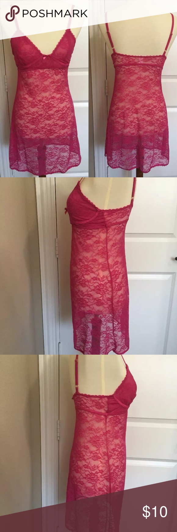 94af550e63e7 HoneyDew Lace Nightgown Medium Pink Honey Dew Women's Lace Nightgown Baby  doll Medium Bright Pink Lace