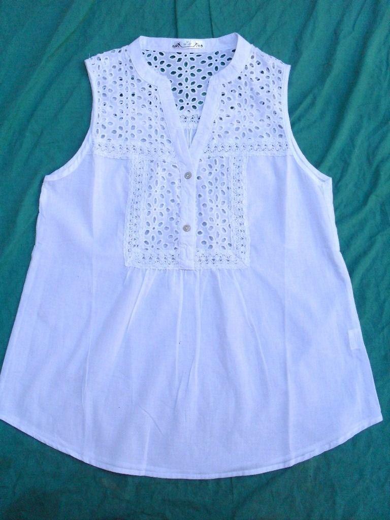 0776e85fc19f0 camisa blusa sin mangas mujer blanca nueva talle l
