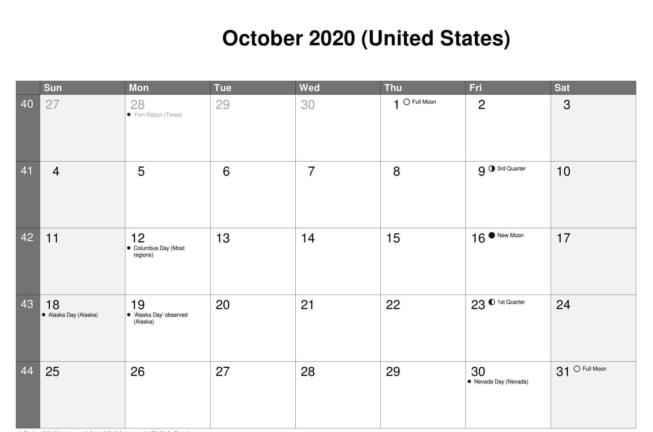 October 2020 Calendar Usa In 2020 Usa Calendar Federal Holiday Calendar October Calendar