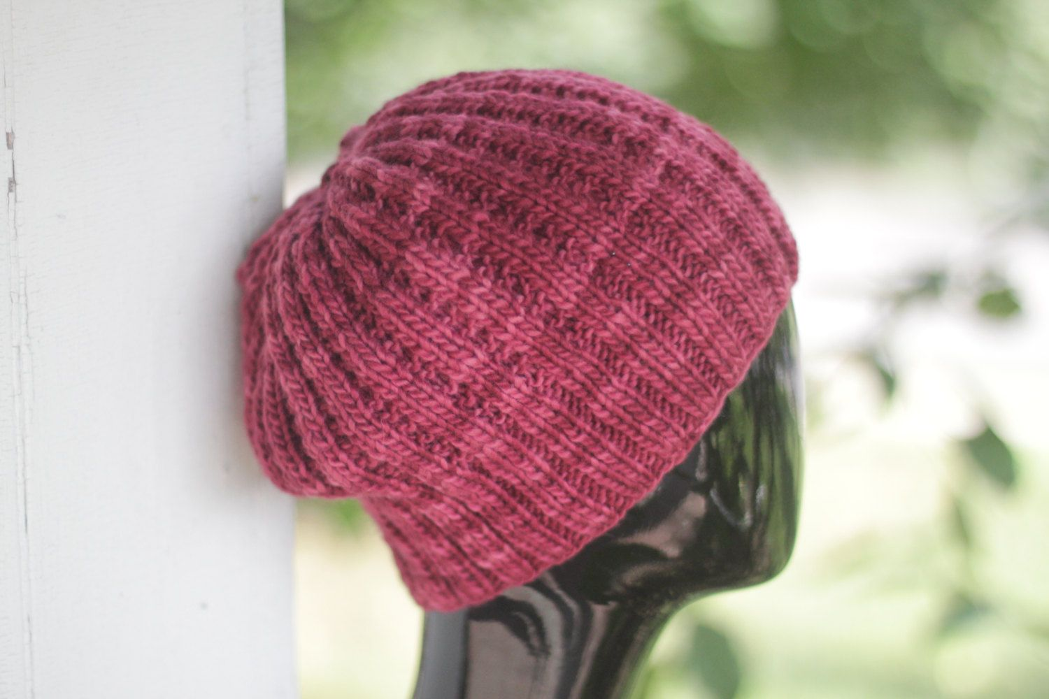 b11a7e211cf9a Cranberry Beanie - Dark Red Ribbed Slouch Hat - Unisex Knit Slouchy Beanie  in Burgundy by bonnyknitsforyou on Etsy