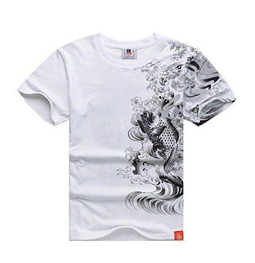 Ssj Japanese Traditional Design Rising Carp T Shirts Two Color Two Size For Men Kanji Tee L White Yakuza T Shirt Street Wear T Shirt