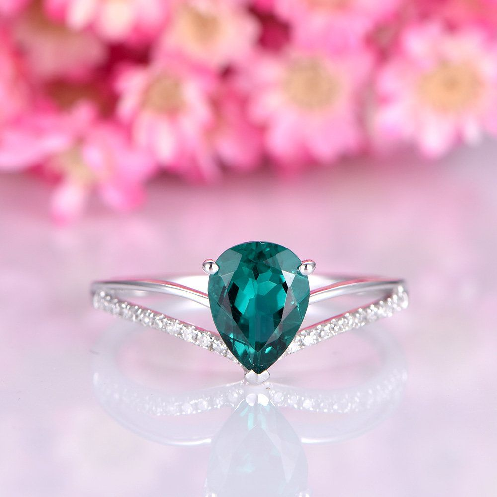 Emerald engagement ring 5x7mm pear cut lab created emerald diamond ...