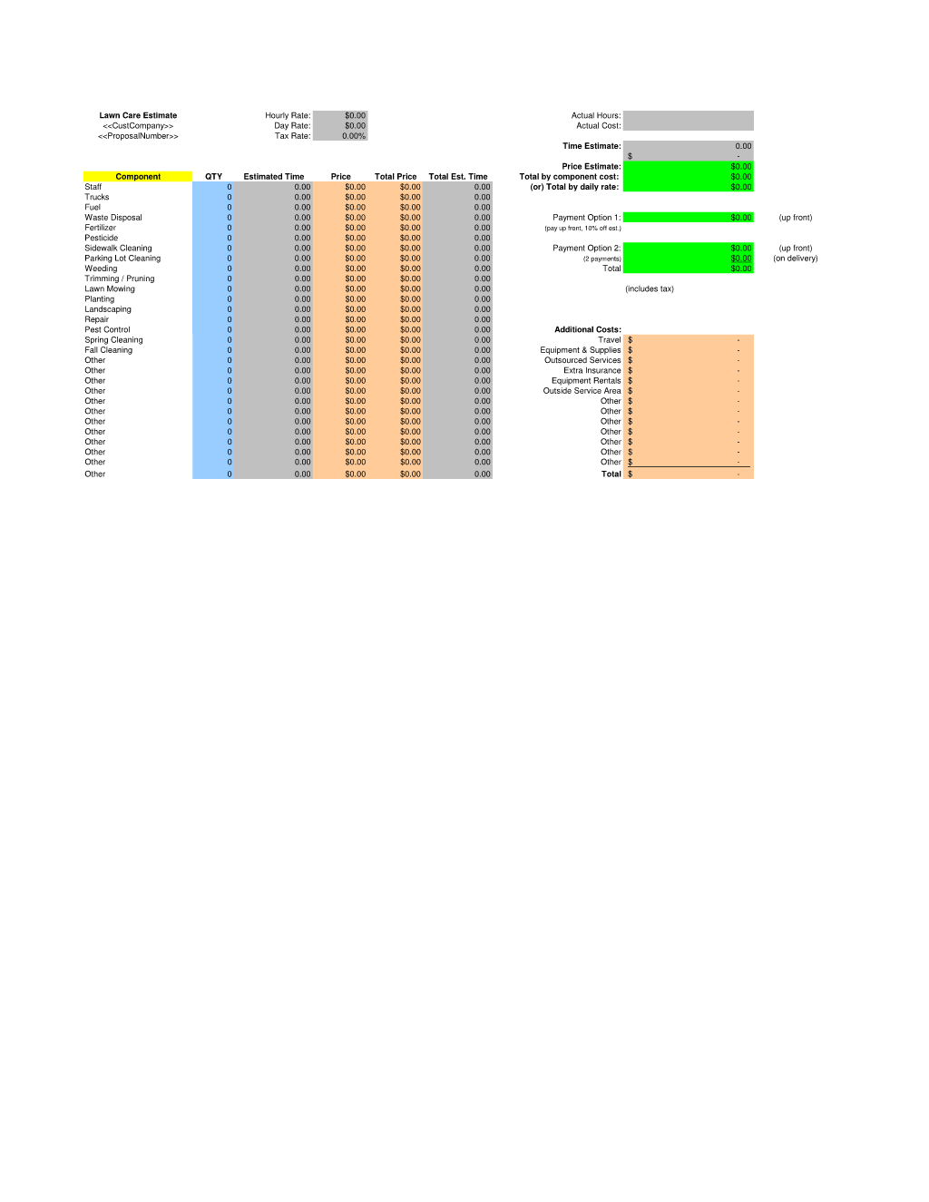 Lawn Care Estimate Spreadsheet