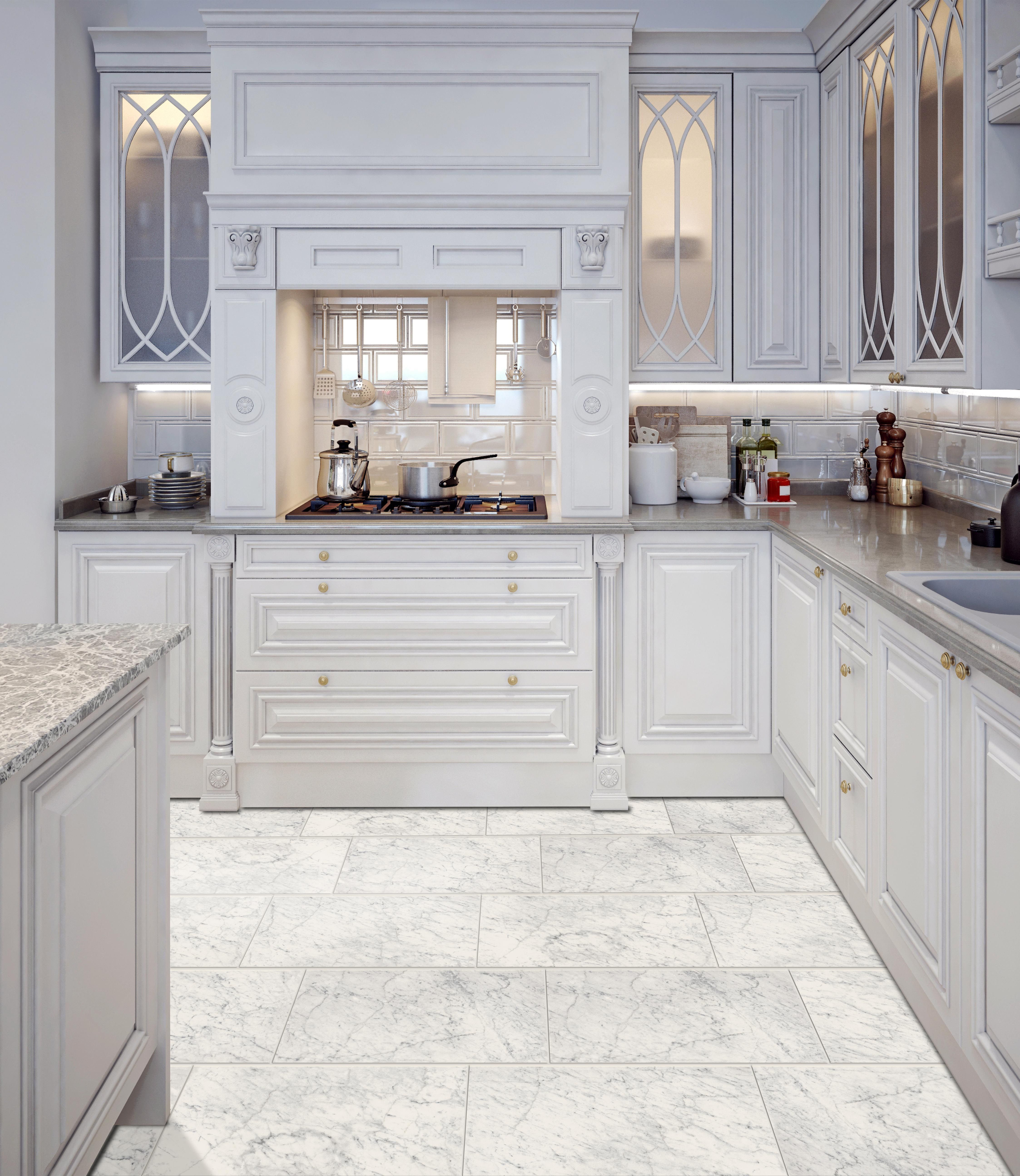 Style Selections Futuro White 12 In X 24 In Glazed Porcelain Marble Look Tile Lowes Com Marble Look Tile Marble Tile Floor Kitchen Marble Floor Kitchen
