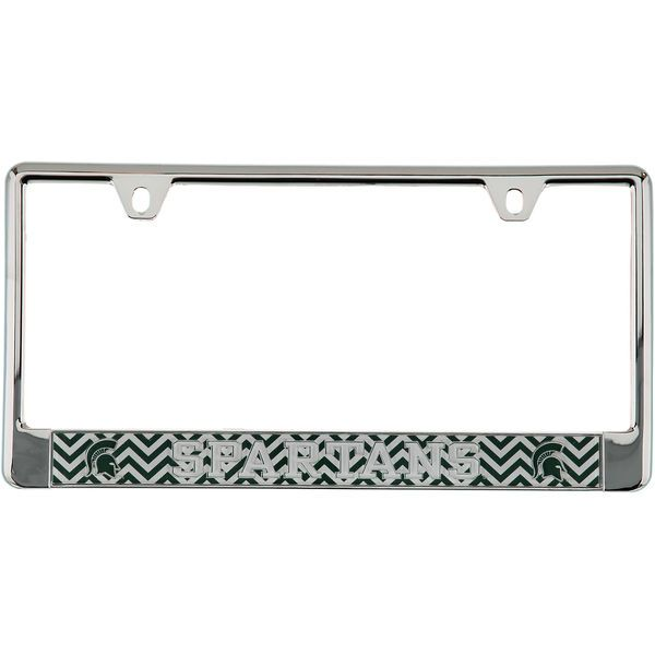 michigan state spartans chevron bottom only metal acrylic cut license plate frame 1999 - Michigan State License Plate Frame