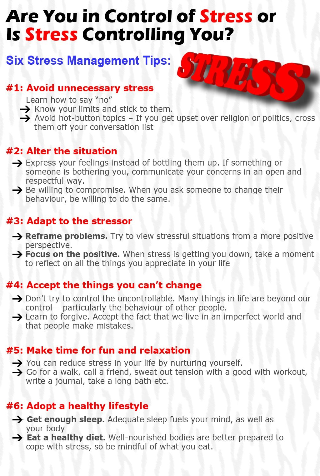Are You In Control Of Stress Or Is Stress Controlling
