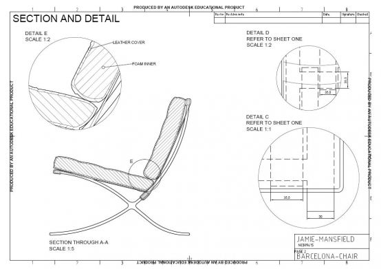 Barcelona chair an autocad drawing sheet 2 for Chaise lounge cad block free