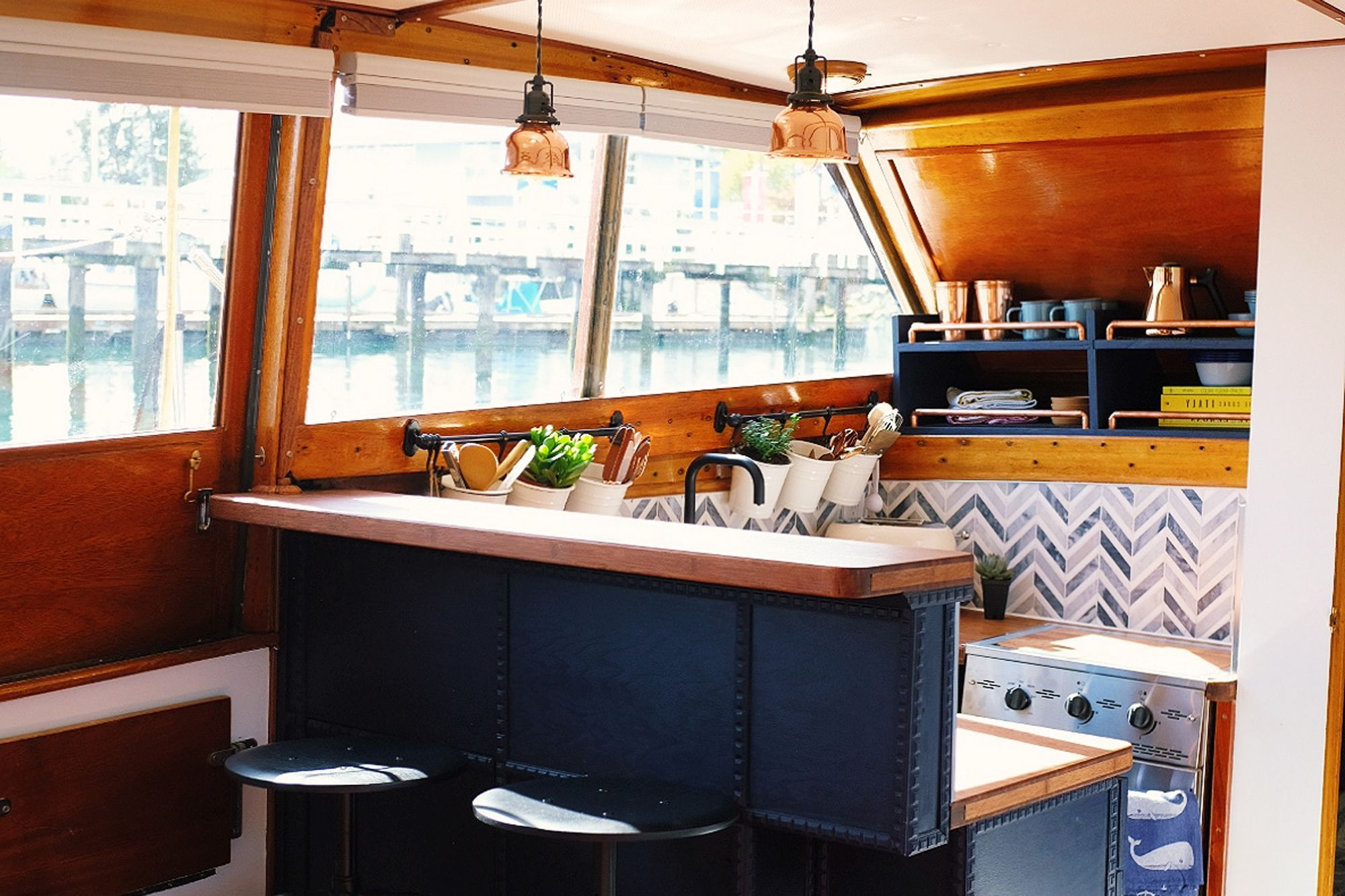 This Houseboat Has e of the Cutest Tiny House Kitchens