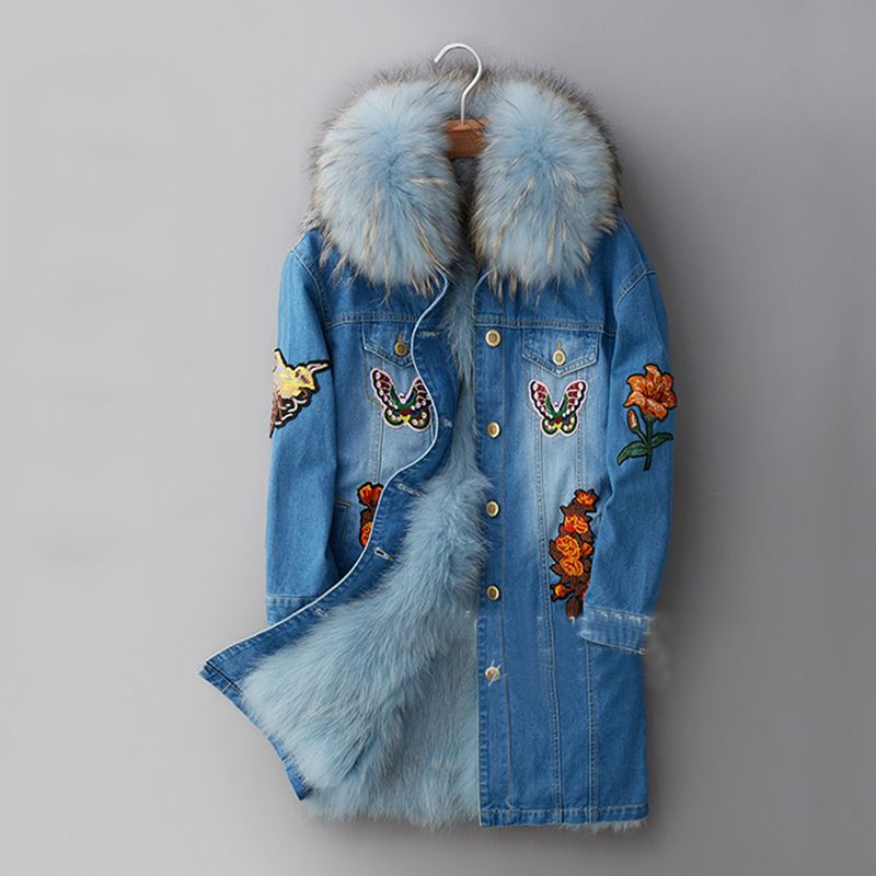 blue fox fur lined parka | Winter Jacket Women Long Fur Coat 2016 Ladies Real Fox Fur Lined Denim ...
