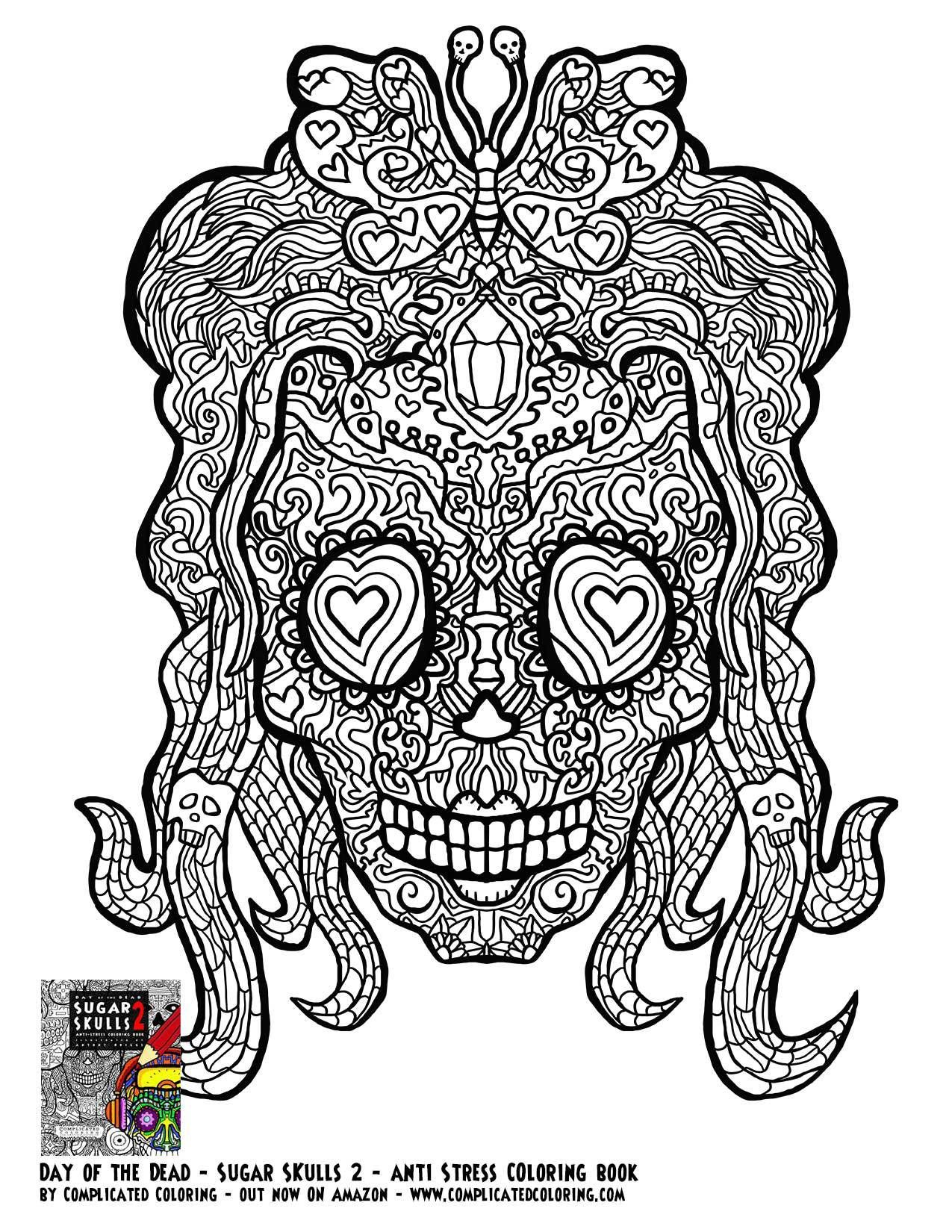 Sugar Skull Day of the Dead Free Printable Coloring page | ✐Adult ...
