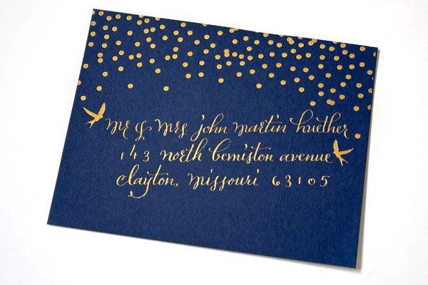 Navy Midnight Dark Blue Envelope With Gold Yellow Stars