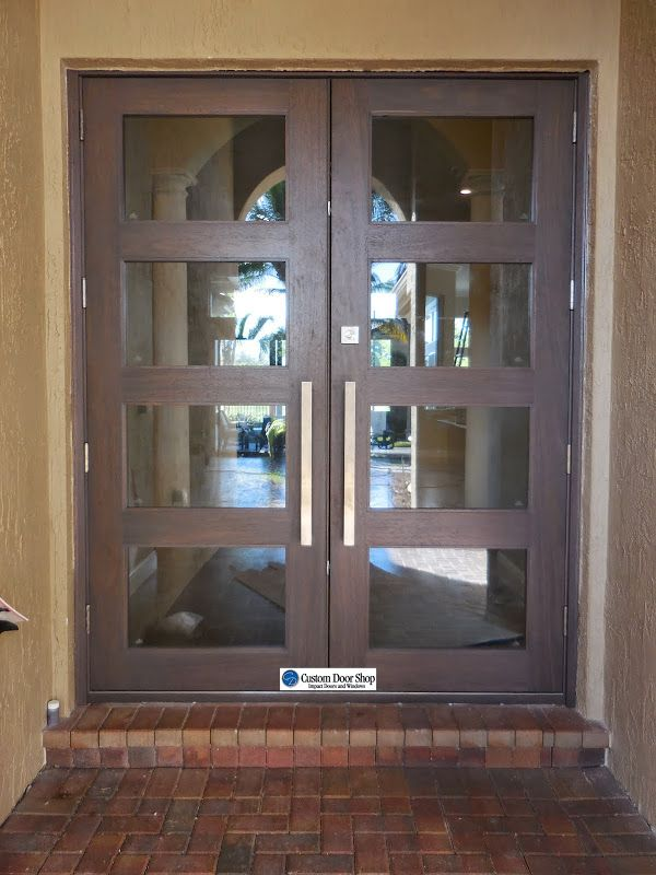 Contemporary Mahogany Double Wood Doors With Inserts And Stainless