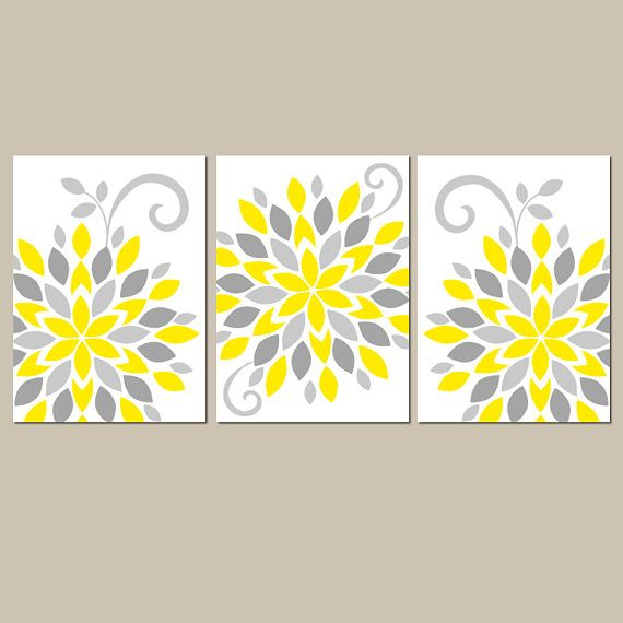 Yellow Gray Flower Wall Art, Yellow Gray Nursery Decor, Canvas or ...