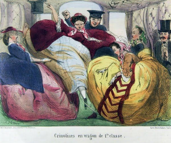 cartoon making fun of crinolines on a train--notice the one gal has her foot hung up in the other's cage.