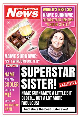 Sister birthday news photo card funky pigeon special sister sister birthday news photo card funky pigeon bookmarktalkfo Image collections