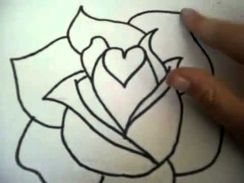 Simple Line Art Rose : How to draw a simple rose design with heart