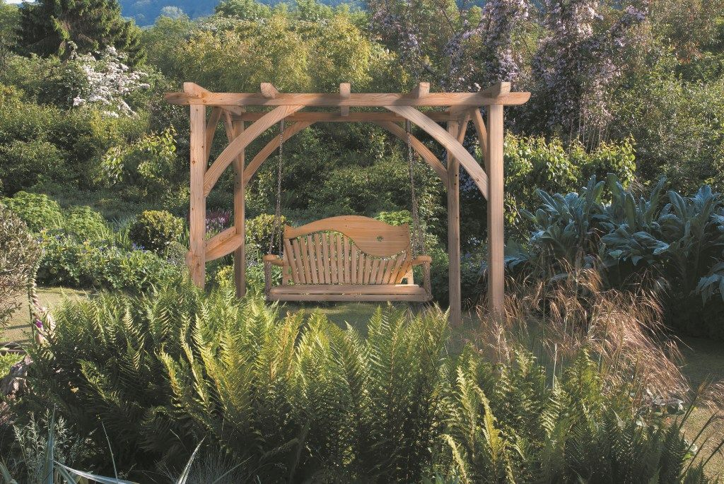 Our new Pergola with a 2 seater swirl back swing seat hanging from it