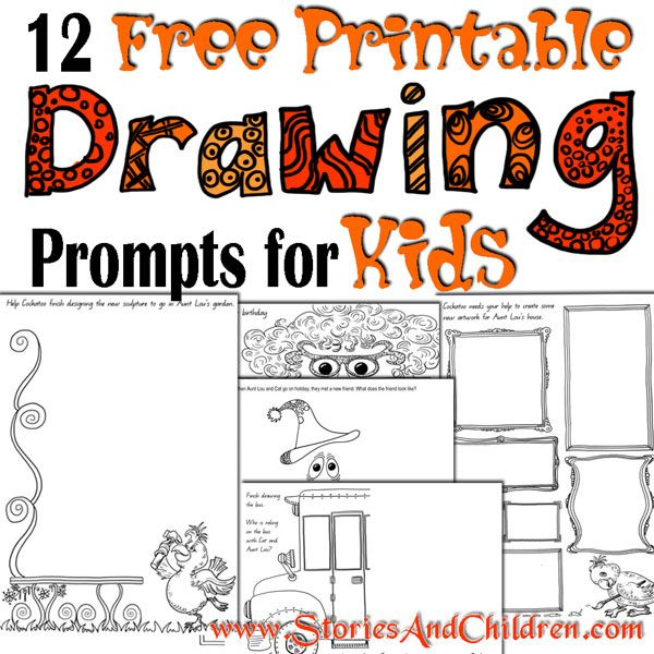12 free printable drawing prompts for kids