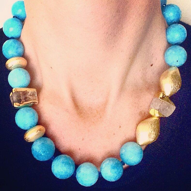60467e863d82c5 Collana girocollo di pietre dure turchese e oro | Projects to Try ...