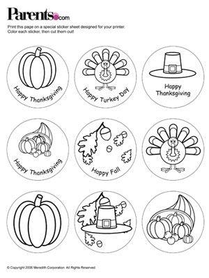 Thanksgiving Stickers printable
