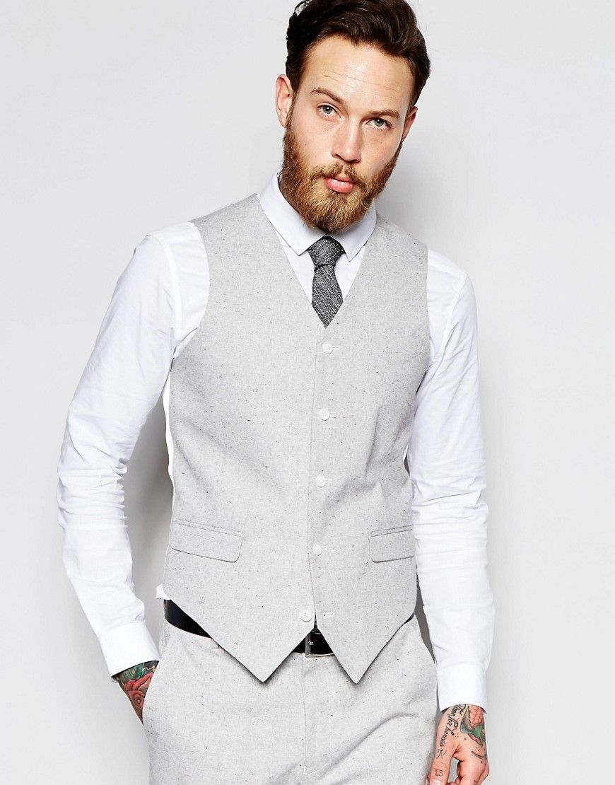 Asos slim vest in gray nepp fabric gray fresh guy in