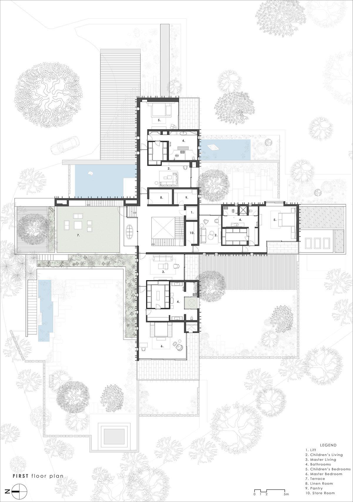 Cross Shaped Modern Home In Peaceful Landscaped Gardens Floor Plan Layout Modern House Design Architect Design