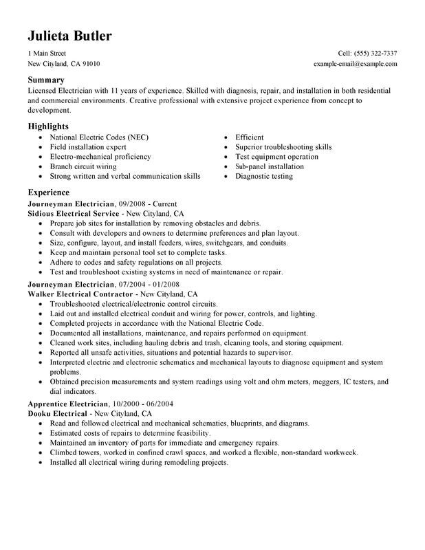 Journeymen Electricians Resume Sample Resume Examples Sample Resume Resume Skills