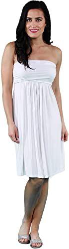 New 24/7 Comfort Apparel Dress Women Strapless Knee Length Women's Tube Dress - [Made USA] online shopping #backlesscocktaildress