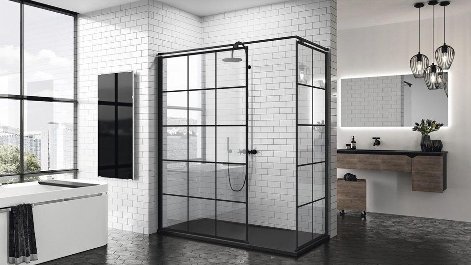 badrum trend 2019 svart vitt Kuadra H duschvägg Sanova