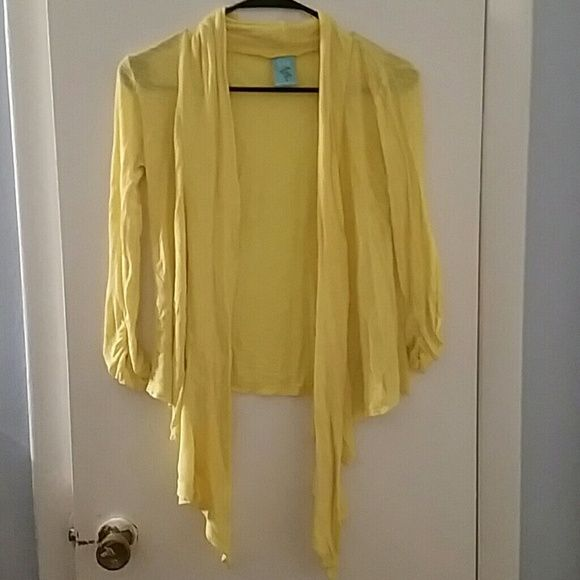 Yellow Cardigan Gently used yellow cardigan purchased from Nordstrom BP. Slightly sheer, lightweight material. H.I.P Sweaters Cardigans