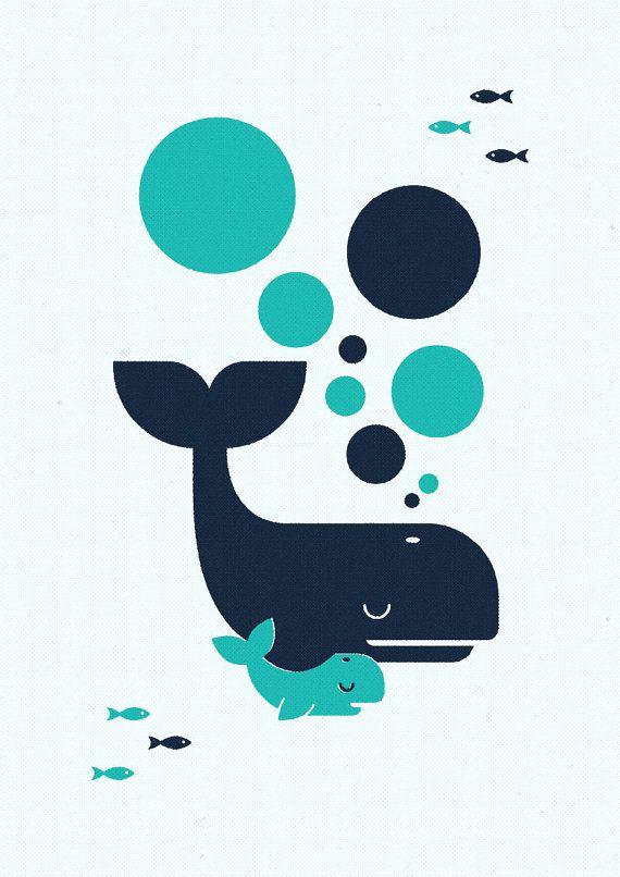 Balena e Baby, Retro stampa, arte della parete, Oggettistica per la casa