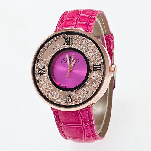 Nette Damen Uhr rundes Zifferblatt Analoge Uhr mit Strass und Kunsperlen Dekoration Rosa - http://geschirrkaufen.online/sanwood/rosa-nette-damen-uhr-rundes-zifferblatt-analoge
