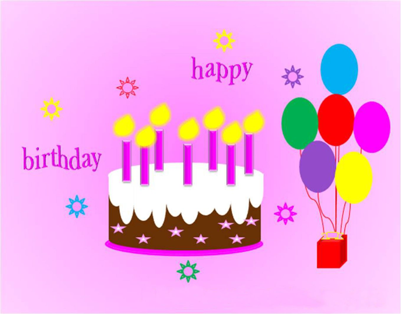 Happy Birthday Cake and Balloons – Happy Birthdays Cards