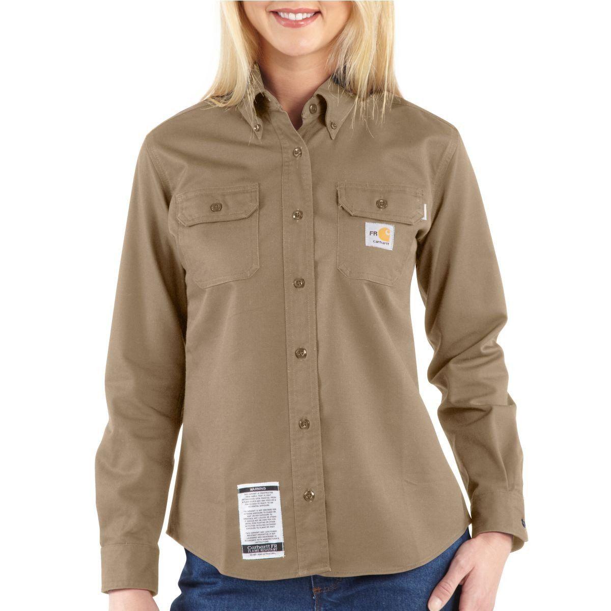 Bulwark X-Large Khaki Cotton Nylon Flame Resistant Shirt With Button Closure