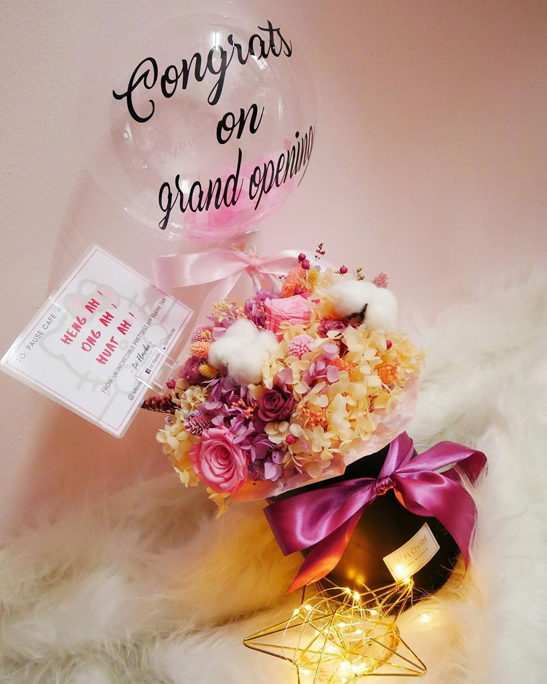Grand Opening Preserved Flower Box May Our Wishes Brighten Up Your Day And Your Business Leflovibe How To Preserve Flowers Flower Boxes Grand Opening