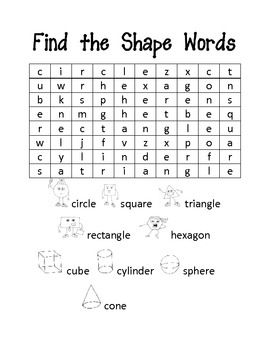 Word Search for Shapes and Colors Freebie (With images