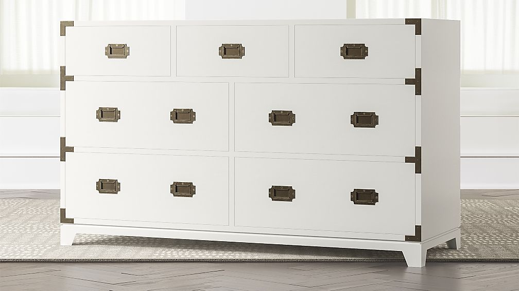 Kids White Campaign Wide Dresser Campaign Dresser Wide Dresser