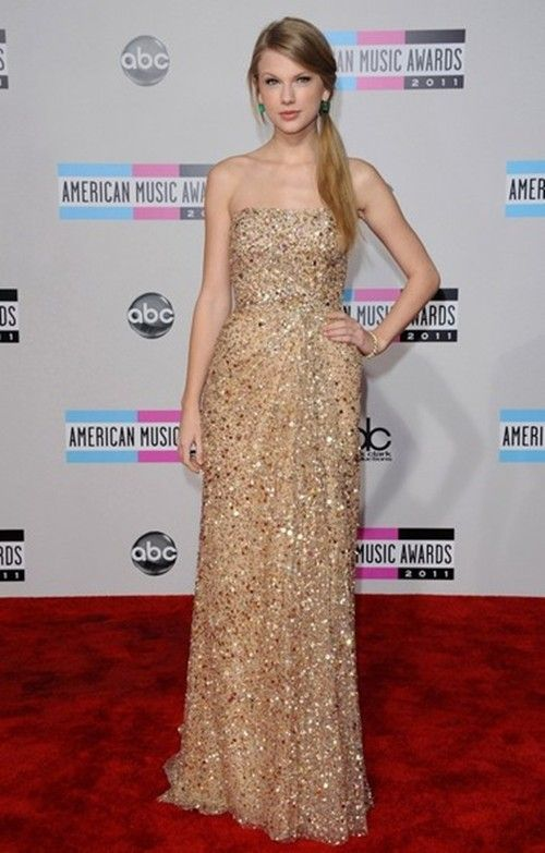 96e94cb7507a Elegant-Strapless-Long-Gold-Sequined-Taylor-Swift -Red-Carpet-Celebrity-Dress_