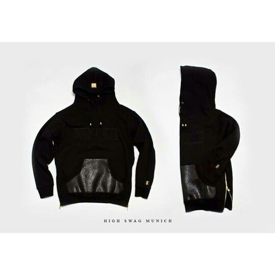Restock of the #HighSwagMunich Leather pocket side zip pullover hoodies  Best quality hoodies shop today  Www.houseoftreli.com