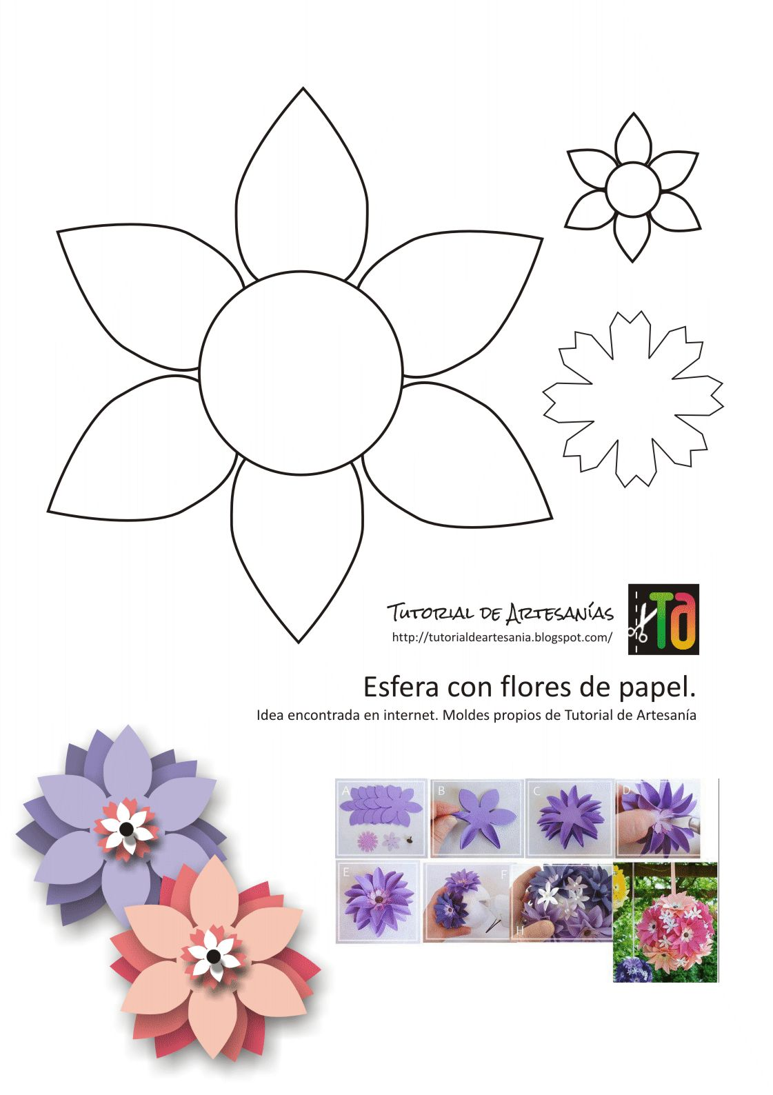 Flores Hacer Grandes Para De Moldes Papel