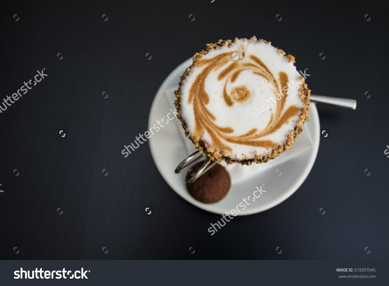 Close Up Topped Of Chocolate Milkshake, Chocolate Sauce On Top View. Glass Of Thick Creamy Coffee Milkshake, Frappe Or Iced Coffee With A Topping Of Ice Cream And Drizzled Syrup Стоковые фотографии 519397045 : Shutterstock