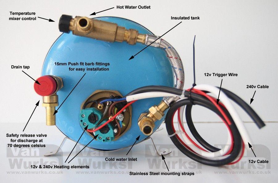 Vanwurks 12 240v Mini 6 Litre Water Heater With Mixer Valve Vanwurks Vw Camper Interiors Water Heater Valve Vw Camper