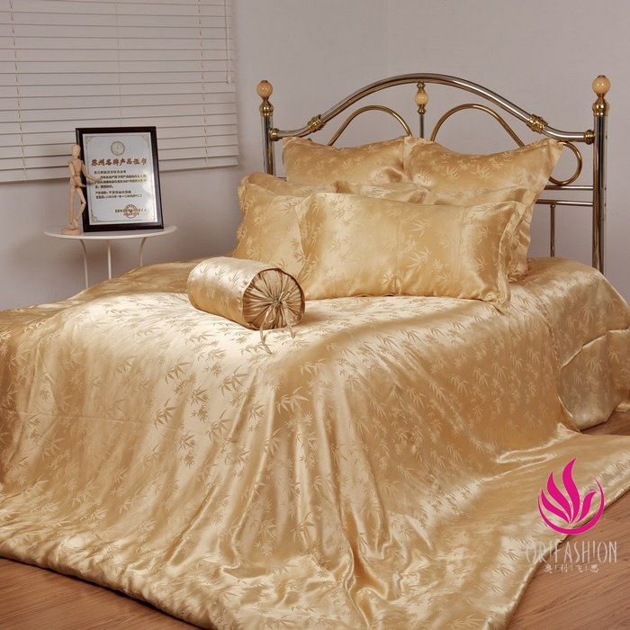 Superbe 4PCS Gold Bamboo Leaves Silk Bedding Set BSS003, UK Double Size