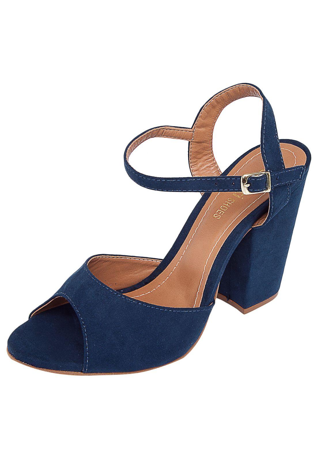 Sandália DAFITI SHOES Salto Grosso Azul - Marca DAFITI SHOES 23063e3352b