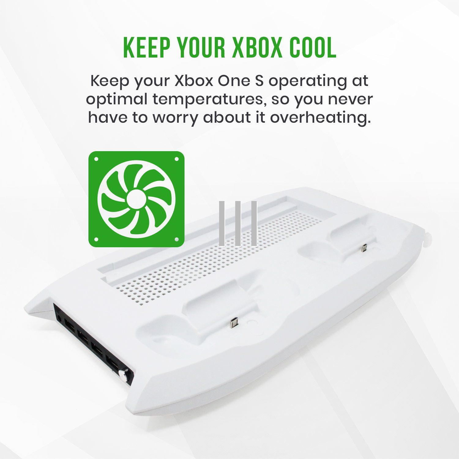 Xbox One S White Stand w/ Cooling Fan Controller Charger USB
