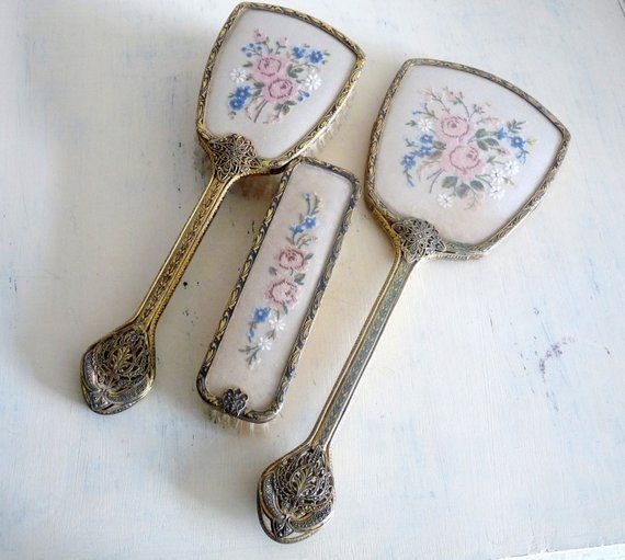 Vintage Dressing Table Set- Mirror Hairbrush and Clothes Brush