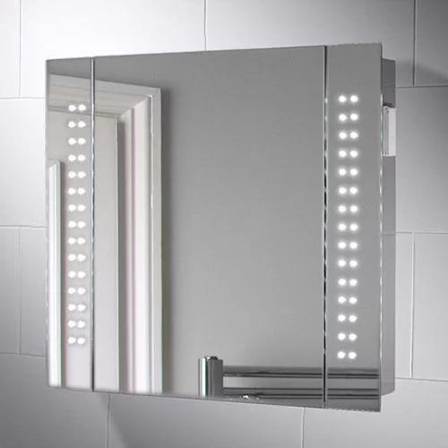 650x600mm Rowan Led Illuminated Bathroom Mirror Cabinet With Images Mirror Cabinets Bathroom Mirror Cabinet Bathroom Mirror